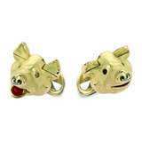 18k Gold Pig's Head Cufflinks with Diamond Eyes
