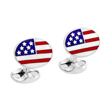 Silver American Flag Cufflinks