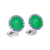 Silver St. Christopher Cufflinks with Green Enamel
