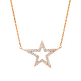 18k Rose Gold & Diamond Star Pendant Necklace