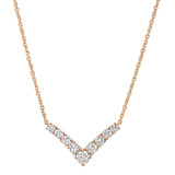 ​18k Rose Gold & Diamond 'V' Pendant Necklace