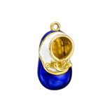 ​​18k Gold Royal Blue & White Enamel Baby Shoe Charm