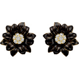 ​Black Enamel & Diamond Flower Earrings