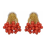 18k Gold, Coral Bead & Diamond Tassel Earrings