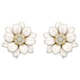 White Enamel & Diamond Flower Earrings