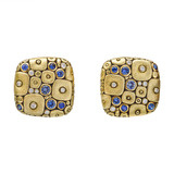 18k Gold Cushion-Shaped Earrings with Sapphire & Diamond