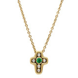 Tsavorite &amp; Diamond Cross Pendant