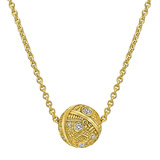 18k Yellow Gold & Diamond Ball Pendant
