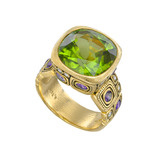 """Little Windows"" Peridot Ring with Sapphire & Diamond"