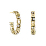 """Micro Windows"" 18k Gold Hoop Earrings with Diamond"