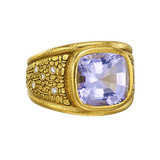 18k Yellow Gold & Purple Sapphire Ring