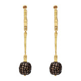 """Sticks & Stones"" Cognac Diamond Bead Drop Earrings"