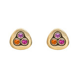 &quot;Swirling Water&quot; 18k Gold &amp; Multicolored Sapphire Stud Earrings