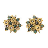 """Ocean"" 18k Gold & Green Sapphire Earrings with Diamond"