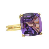Buff-Top Amethyst Cocktail Ring