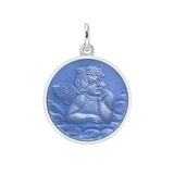 Small Silver Angel Medal with French Blue Enamel