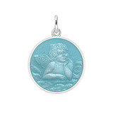Small Silver Angel Medal with Light Blue Enamel