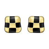 "​18k Yellow Gold & Black Onyx ""Checkerboard"" Earrings"