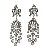 Antique Diamond Foliate Chandelier Earrings