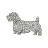 Antique Diamond Terrier Pin