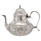 Antique Dutch Silver Tea Pot with Rustic Pattern