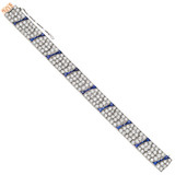 Antique French Diamond & Sapphire Link Bracelet
