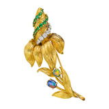 Antique 18k Gold & Gem-Set Flower Pin
