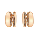 18k Rose Gold & Brown Diamond Geometric Earrings