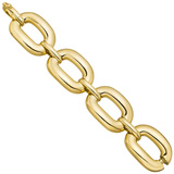 18k Yellow Gold Domed Oval Link Bracelet