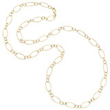 18k Gold Small & Large Oval Link Long Necklace