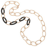 18k Pink Gold & Carved Wood Oval Link Long Necklace