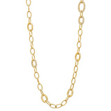​18k Yellow Gold & Diamond Oval Link Necklace