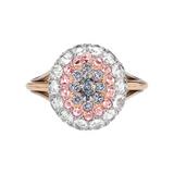Blue, Pink & White Diamond Dome Ring