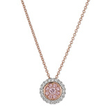 Pink & White Diamond Halo Cluster Pendant