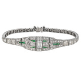 Art Deco Diamond & Emerald Panel Bracelet
