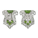 Pair of Art Deco Diamond & Peridot Dress Clips