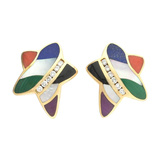 ​14k Gold & Inlaid Hardstone Star Earclips