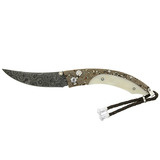 &quot;Persian&quot; Damascus Folding Knife with Fossil Walrus Ivory