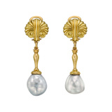 18k Yellow Gold & Baroque Pearl Pendant Earrings
