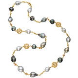 Multicolored Baroque Pearl & 18k Gold Ball Necklace