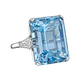 24.07 Carat ​Aquamarine & Diamond Cocktail Ring