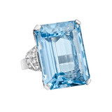 Emerald-Cut Aquamarine & Diamond Ring
