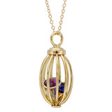 "18k Gold ""Birdcage"" with Bezel-Set Birthstones"