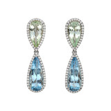 ​Mint Green & Blue Pear-Shaped Aquamarine Drop Earrings