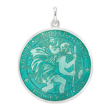 Large Silver St. Christopher Medal with Aqua Enamel