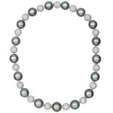 Tahitian Pearl & Pavé Diamond Ball Necklace