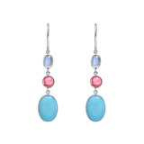 Turquoise, Pink Tourmaline & Moonstone Drop Earrings