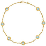 18k Gold &amp; Blue Topaz Sunflower Necklace