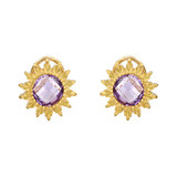 Amethyst Sunflower Earclips