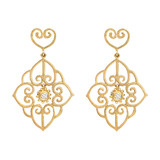 "18k Gold & Diamond ​""Arabesque"" Drop Earrings"